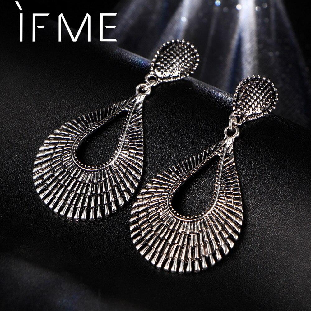 IF ME Ethnic Big Water Drop Earrings Tibetan Antique Charms Pendant Dangle Earrings For Women Simple Elegant Jewelry Party Gift