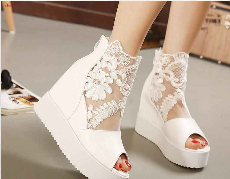 New fashion Wedge women Sandals Casual Buckle High Heel Shoes Fish Mouth Sandals women Fish mouth lace hollow shoes