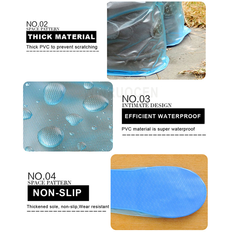 Long and Waterproof Shoe Cover for Men and Women Reusable for Shoes with Anti Slip and Anti Grinding Property 1