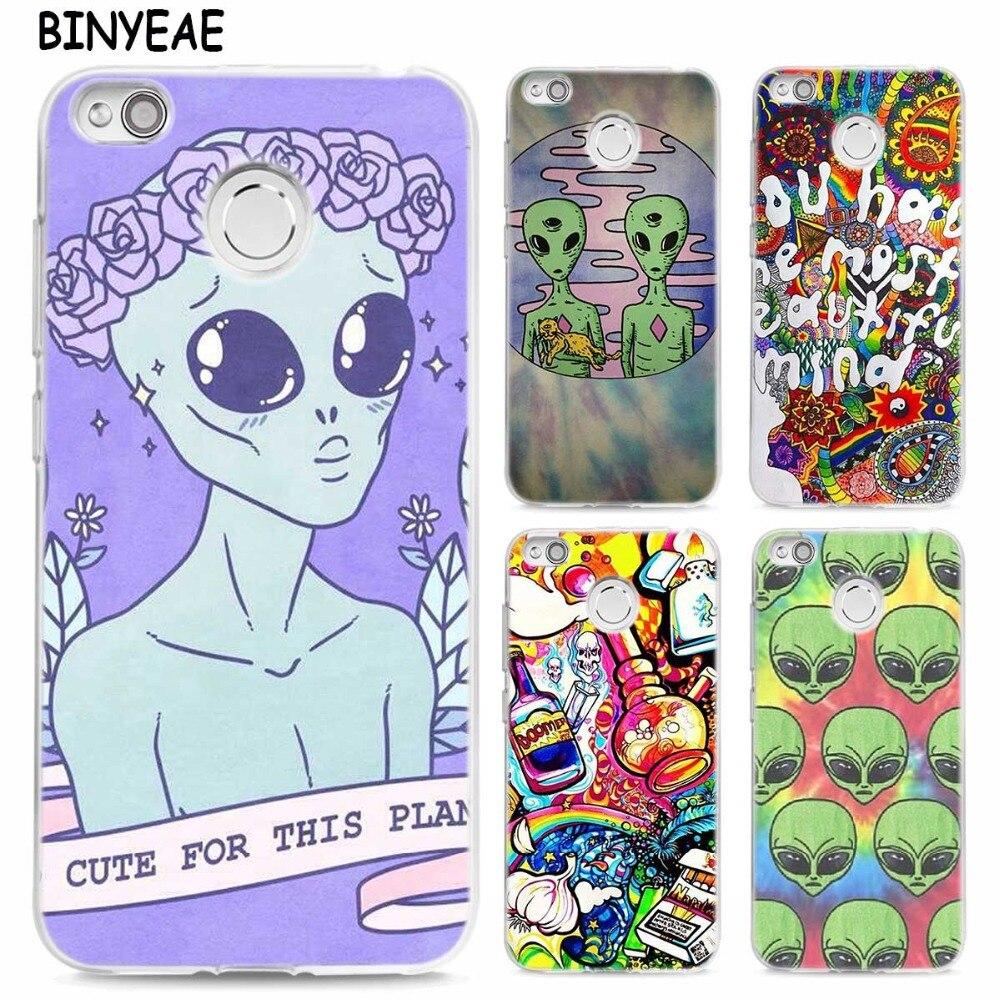 BINYEAE Peace sign Alien TPU Transparent Soft Case Cover for Xiaomi Mi Redmi Note A1 4X 5 5A 4 4A 3 Plus Pro