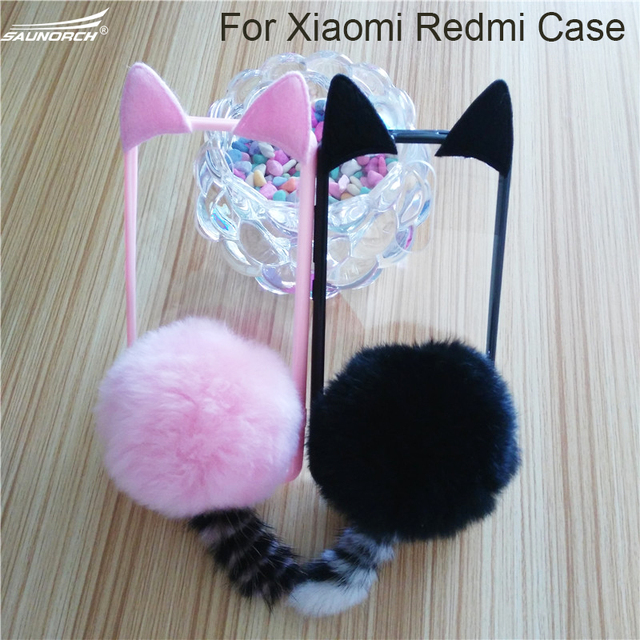 3D Cute Pussy Cat Ear Tail Soft Case Furry Back Cover Cartoon Fur Ball For Xiaomi 5 5S 5SPlus 6 For  Redmi 3 3S 3X Note3 4 4X