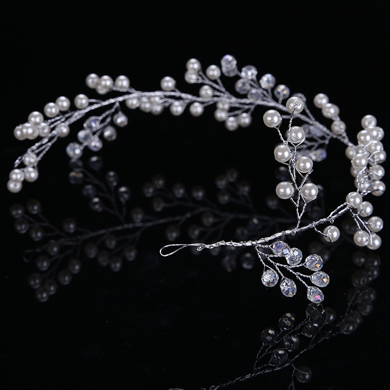 Trendy Silver Pearl Headbands Wedding tiara 32cm Crystal Headband Bridal Hair Accessories Head Jewelry Wedding Hair Accessories 3