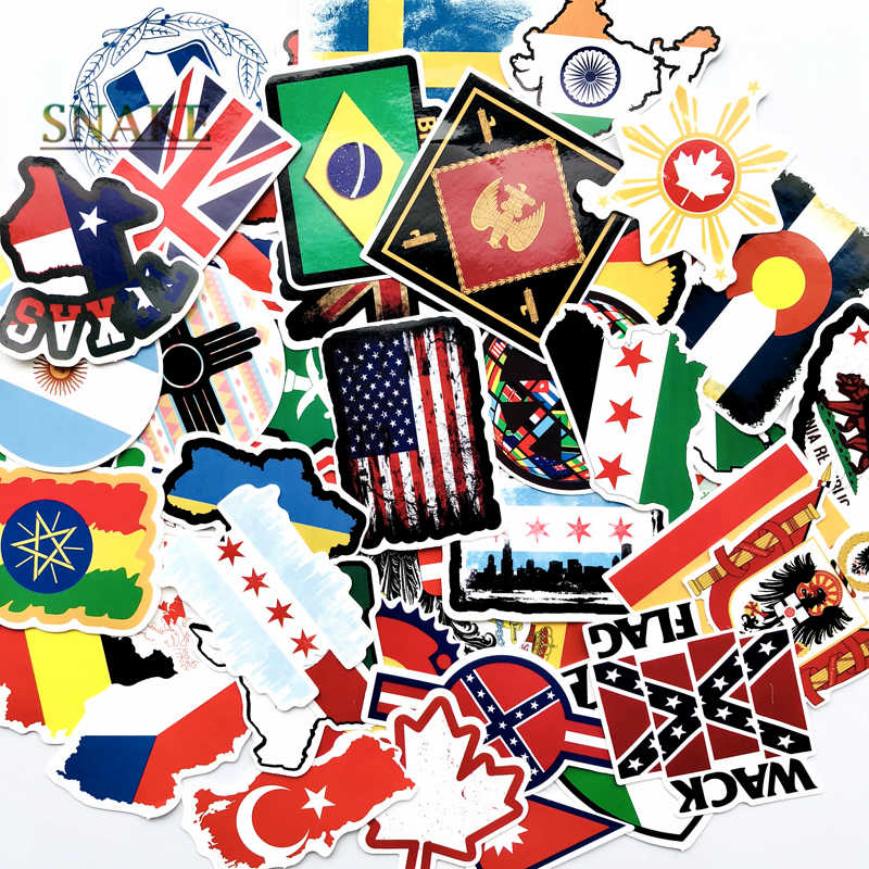 52PCS National Flags Stickers Toys for Children Countries Map Travel Sticker to DIY Scrapbooking Suitcase Laptop Car Motorcycle