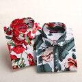 Marca New Rose Red Floral Blusa Impressão Tops de Manga Longa camisas de Algodão Mulheres Blusas de Verão 2017 Blusas Femininas Tamanho Grande 5XL