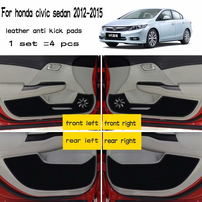 Leather Car-Styling Anti Kick Pad Anti-dity Doors Mat Accessories For Honda Civic Sedan 2012 2013 2014 2015 2016 9th Generation