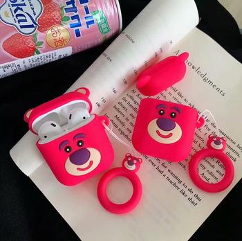 3D Cute Strawberry Bear Finger Ring Strap Soft Silicone Case for Apple Airpods 1 2 Bluetooth Wireless Earphone Cover Box Bags