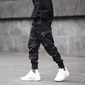 Image 3 - Hip Hop Black Pencil Pants Men Cargo Pants Streetwear Men Pockets Harem Joggers 2019 Spring Fashion Mens Pant Ribbon HD070