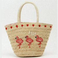 P P X Fashion Embroidery Women S Shoulder Bags Large Straw Woven Bag High Quality Summer