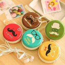 35PCS / LOT Women Coin Purse Round Zipper Bag Small Tinplate Pouch Bags Mini Zero Printing Earphone