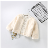 Children Pearl Appliques Outerwear Girls Princess Party Clothing Autumn Winter Baby Clothes Kids Solid Wool Blends