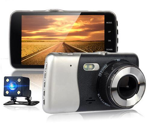Best New 4 display Full HD 1080P Car DVR Camera Rear View Dual Camera Double recorded vehicle traveling data recorder