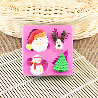 Silicone Christmas Fondant Mold Santa Claus Snowman Christmas Tree Snow Cake Decoration Baking DIY Chocolate Mold Biscuit Mold