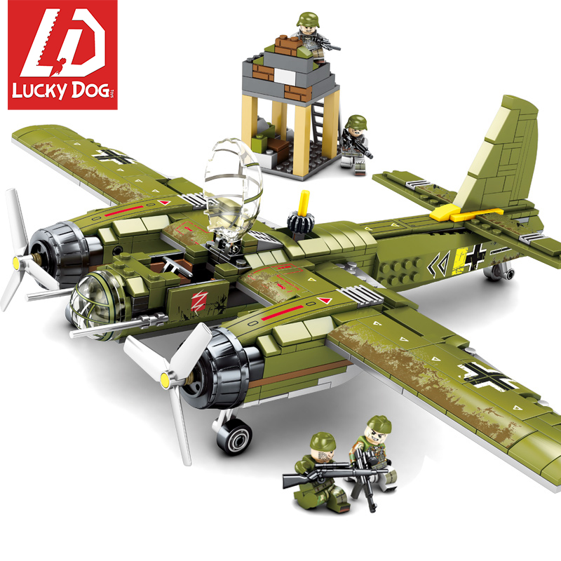 559 pcs Military Building Blocks Ww2 Bombing Airplane Compatible with LegoiNGly Army Vehicle Toys for Children Boy