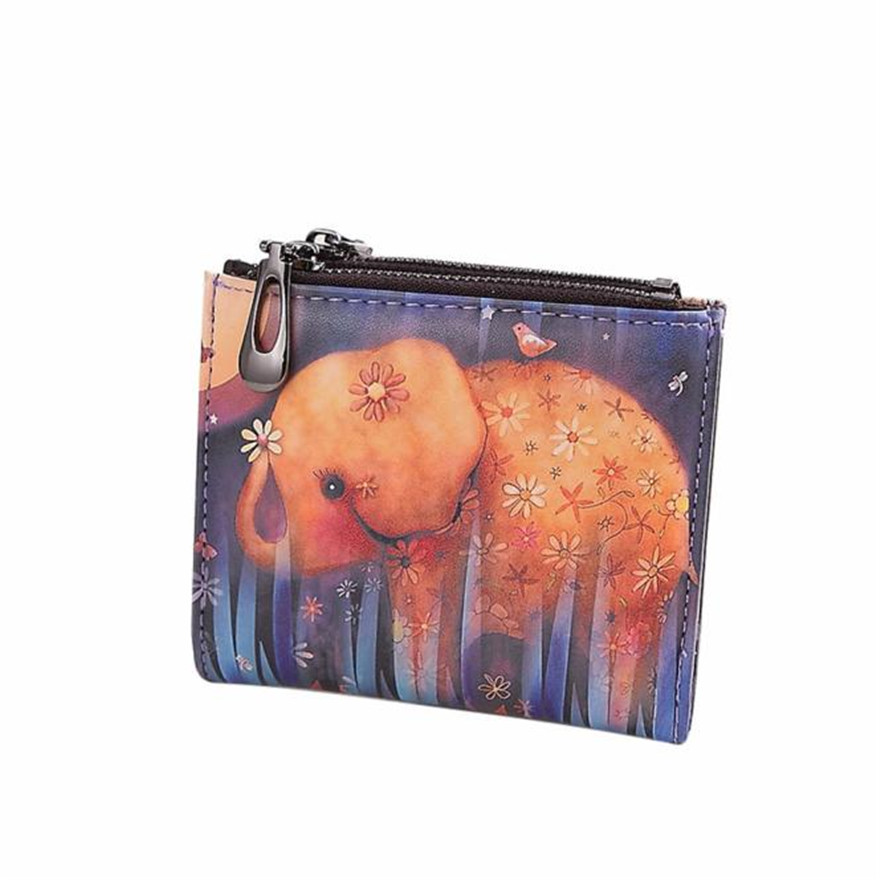 Fashion New Brand Women Vintage Elephant Coin Clip Purse High Quality Zipper Short Wallets Cute Clutch Handbags wallets women S