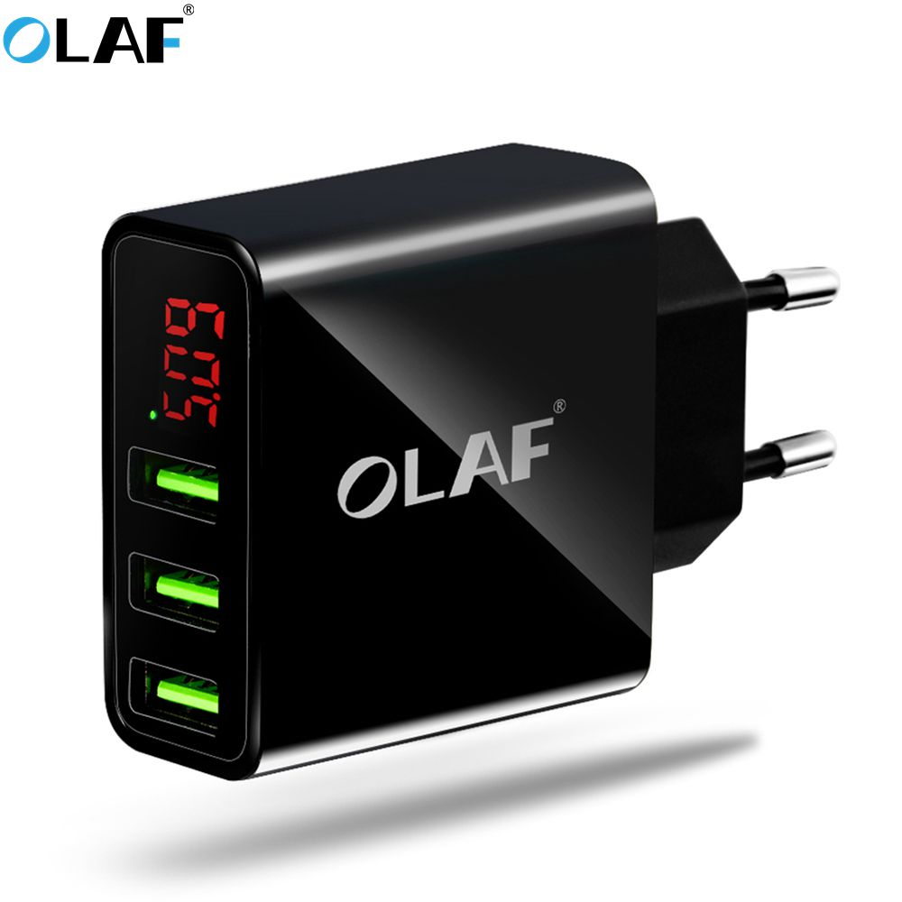 OLAF USB Charger 15W 3 Ports+LED Display Portable Phone Chargers Fast USB Charging Travel Adapter For iPhone X 8 Samsung S8