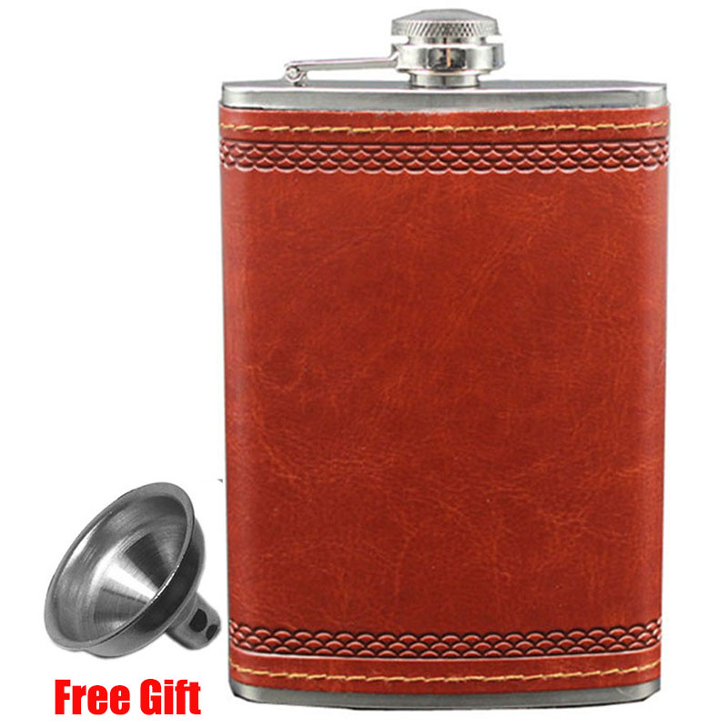 Hip Flask with Funnel 9 OZ Stainless Steel Flasks for Liquor Outdoor Whiskey PU Leather Pocket Flask for Alcohol Men Gift Set in Hip Flasks from Home Garden