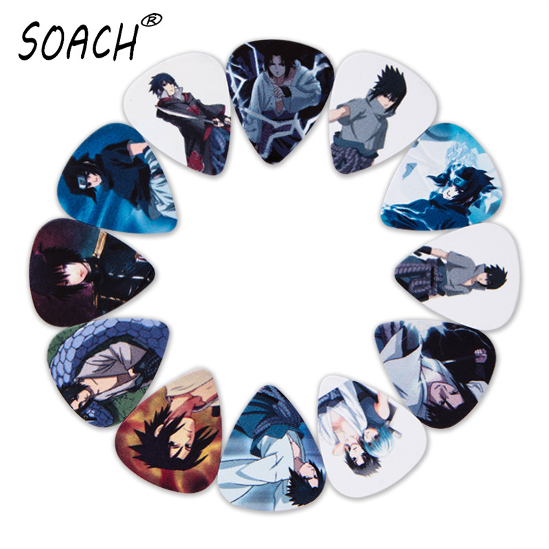 SOACH 10pcs 3 Kinds Of Thickness New Guitar Picks Bass Japanese Anime Uchiha Sasuke Pictures Quality Print Guitar Accessories