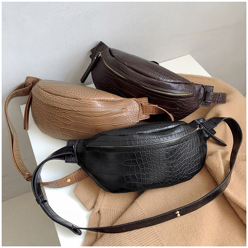 Fanny Pack Women Shoulder Belt Bag Leather Alligator Women Bag Zipper Waist Belt Pack Fashion Travel Shoulder Phone Pouch B166