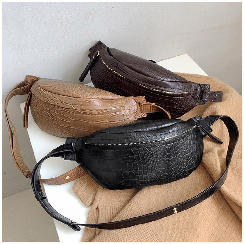 Fanny Pack Women Shoulder Belt Bag Leather Alligator Women Bag Zipper Waist Belt Pack Fashion Travel Shoulder Phone Pouch B166