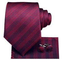 C-3122 Hi-Tie Luxury Silk Men Tie Striped Wine Red Necktie Handkerchief Cufflinks Set Fashion Men's Party Wedding Tie Set 8.5cm 1