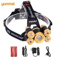 Yunmai Zoomable 5 פנס LED פנס T6 + 4Q5 מתכוונן עוצמה 12000LM פנס ראש LED אור 4 מצב עמיד למים עבור קמפינג