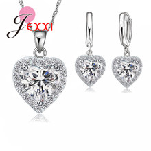New Fashion Love Heart Pendant Jewelry Sets 925 Sterling Silver Cubic Zircon Necklace Earring Women Wedding Set for Party(China)
