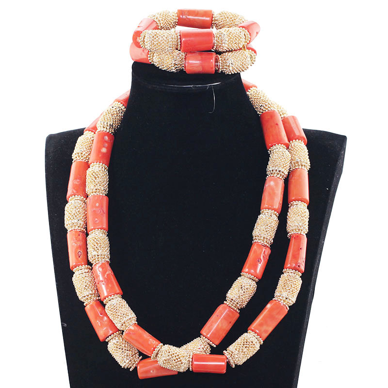 Necklace Bracelet Gold Jewelry Real-Coral-Bead Dubai Wedding Long for Groom JB057 50-Inches