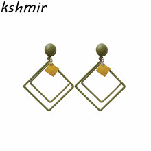 kshmir Fashion Earrings temperament, frosted square double pendant earrings, retro personality, exaggerated fashion ladies.
