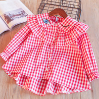 Everweekend Girls Ruffles Plaid Shirts Tees Sweet Eyes Embroidered Candy Pink Blue Color Spring Autumn Tops