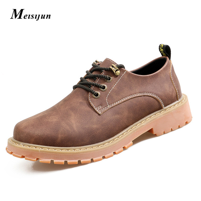 MEISIJUN genuine men shoes non-slip tooling shoes lace martin boots leather shoes Here are with cashmere style