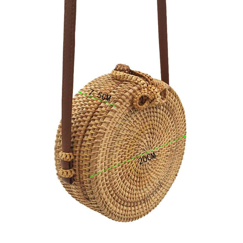 Rerekaxi 2018 redonda artesanal saco de palha boêmio verão rattan praia saco mulher ombro crossbody mensageiro sacos círculo bolsa