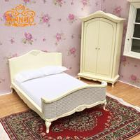 1:12 Dollhouse Miniature Furniture bedroom yellow double bed wardrobe cabinet Free Shipping
