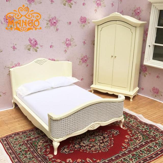 1:12 Poppenhuis Miniatuur Meubels slaapkamer geel dubbele bed ...