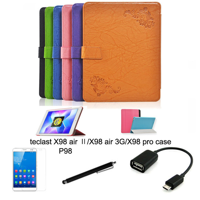 4in1 protective Leather Case +OTG+ Screen Protector+touch pen For teclast  X98 air ii X98 air X98 pro 9.7'' Tablet PC dormancy