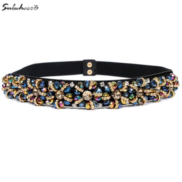 2016 New arrival Crystal Gem belt Women's Brand Elastic Waistband Female wide 3cm Belts For Women accessories