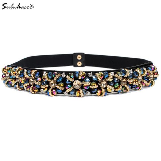 2016 recién llegado de Crystal cinturón joya de la mujer marca de cintura elástica femenino de ancho 3 cm cinturones mujer y accesorios