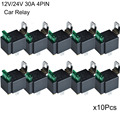 10Pcs Fused Relay On/Off 12V 30A Automotive 4 Pin Fuse Mounting Base Socket SPST Metal Normally Open Car Motor Automotive