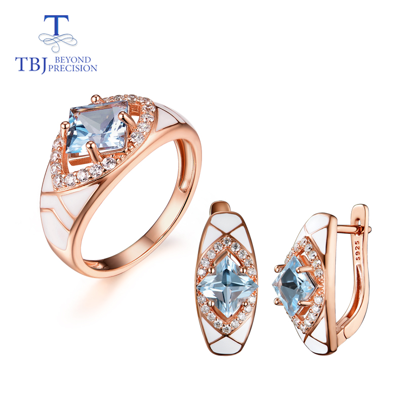 Natural Sky Blue Topaz Gemstone Simple Rings And Earrings Rose Gold 925 Sterling Sliver Set Jewelry For Girls Engagement Gift