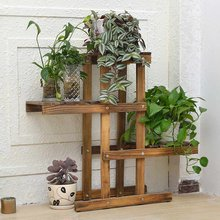 72*66*25cm Wooden Plant Stand 4 layers Planter Display Shelf Indoor Outdoor Flower Rack for garden coffee shop Yard Patio Decor(China)