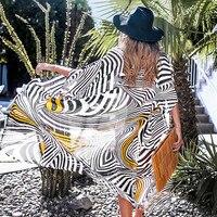 CUPSHE/черный, белый, желтый, с принтом зебры, бикини, закрытый длинный купальник-кимоно, женский купальник, 2019, пляжный купальный костюм, пляжна...
