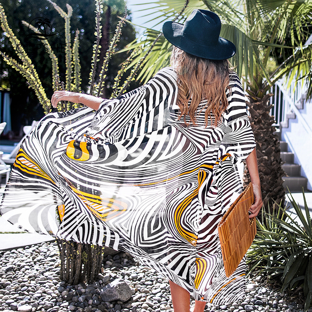 CUPSHE Black White And Orange Zebra Print Bikini Cover Up Long Kimono Swimsuit Cover Women 2020 Beach Bathing Suit Beachwear