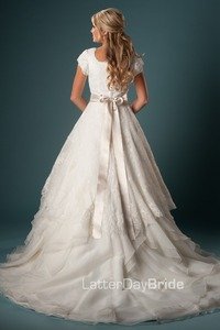 Image 3 - Women Modest Wedding Gown With Sleeves Ball Gown Ruffles Organza Lace With Sash Temple Wedding Dresses With Cap Sleeves