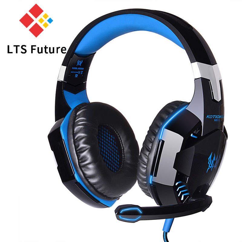EACH G2000 Earphone Anti-noise Dazzle Light Stereo Gaming Headset With MIC USB+3.5mm Audio Cable For PC Gamer Ecouteur Headphone