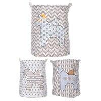 Barrel Folding Toy Storage Boxes Cart Basket Linen Waterproof PE Coating Laundry Clothes Rain Horse Pattern