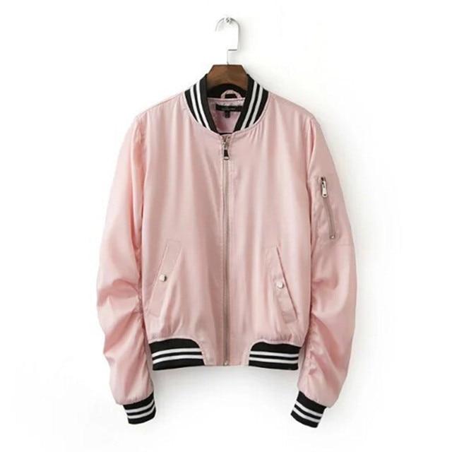2016 Harajuku Rosa Fina Chaqueta Nuevas Mujeres Empalmadas de Punto con cuello en V Cuff Escudo Bomber Jacket Piloto prendas de Vestir Exteriores de color Rosa s m l