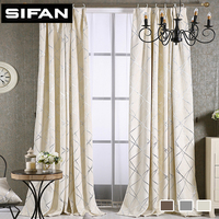 High Quality Chenille Modern Curtains Geometrice Jacquard Pattern Window Blackout Curtains For Living Room Bedroom Custom
