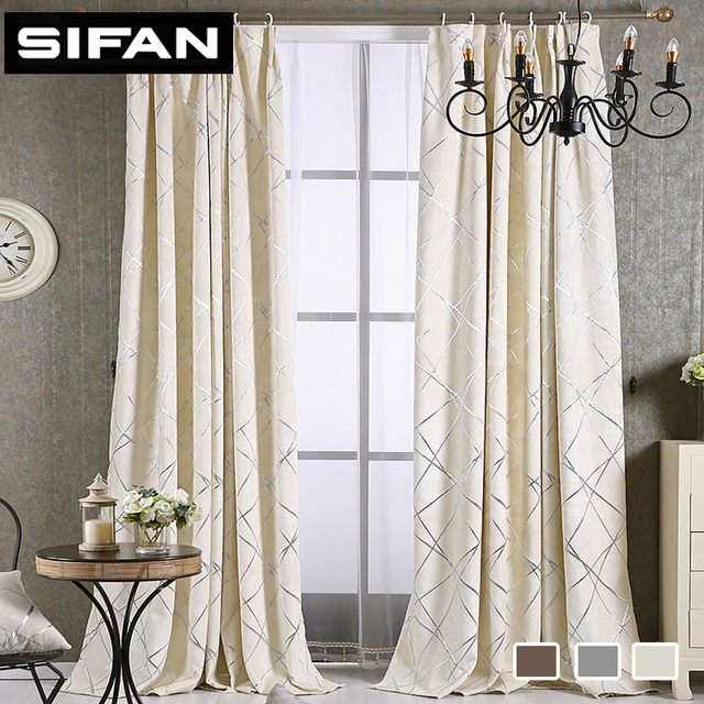 US $25.45 48% OFF|High Quality Chenille Modern Curtains Geometrice Jacquard  Pattern Window Blackout Curtains for Living Room Bedroom Custom Made-in ...