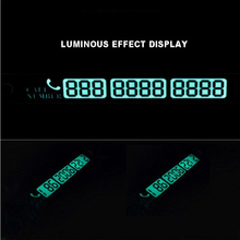Temporary Car Parking Card Telephone Number Card Notification Night Light Sucker Plate Car Styling Luminous Phone Number Card