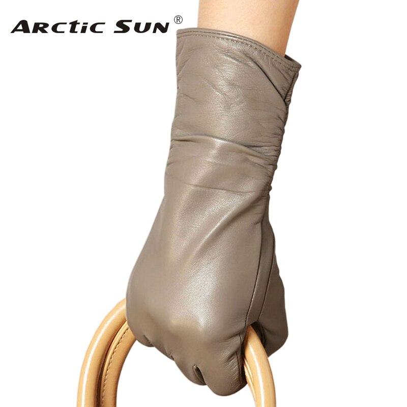 NEW 2020 Women Genuine Leather Gloves Autumn Winter Plus Velvet Fashion Trend Elegant Lady Driving Sheepskin Glove L010NC