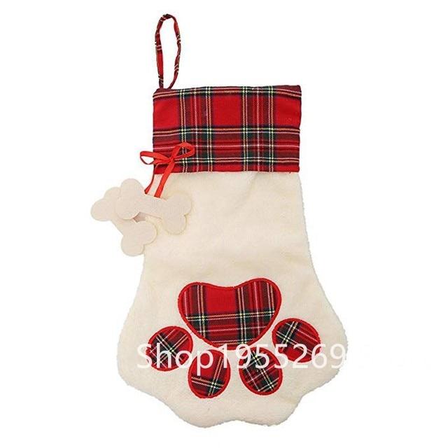 2018 christmas decoration wholesale 40pcslot xmas stocking pet dog plaid paw stocking christmas stocking - Dog Stockings For Christmas